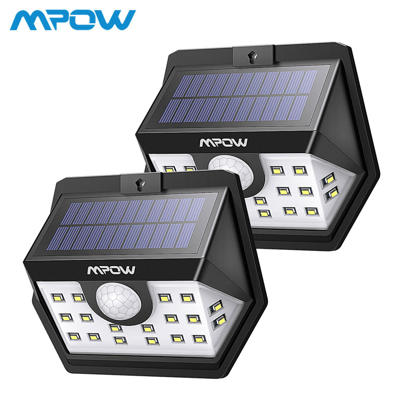 2 Pack/lot MPOW 20 LED Solar Light Super Bright Motion Solar Powered Security Wall Lamp Outdoor IP65 Luz Solar Led Para Exterior2 Pack/lot MPOW 20 LED Solar Light Super Bright Motion Solar Powered Security Wall Lamp Outdoor IP65 Luz Solar Led Para Exterior
