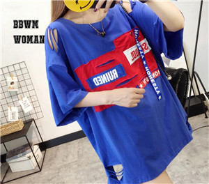 Patchwork Cloth With Hole Women T Shirt Red White Black Sharp Contrast Color Style T Shirts Alphabet Feminine Shirt ZO43