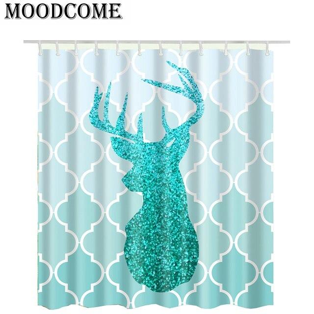 Shower Curtain Blue Elk Bathroom Christmas Bath Shining Deer Rideau Douche Fabric Cortinas