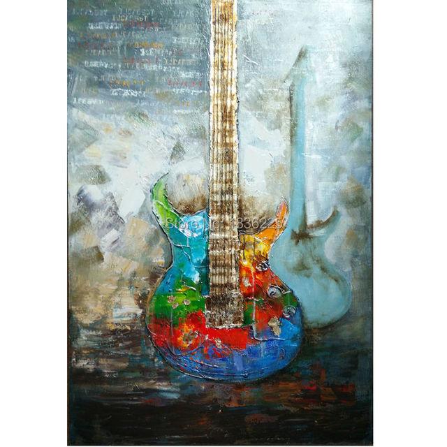 Exposition d coration haute qualit guitare classique peinture l 39 huile - Peinture a l huile moderne ...