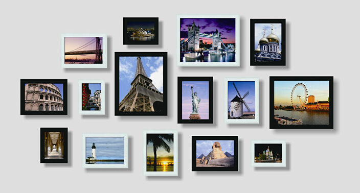 Wall Photo Frame Set Of 8pcs Home Decoration Picture Frames Modern Design Painting Wedding Decor