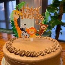 Décoration de gâteau pour anniversaire animaux de la Jungle, pièce 1 pièce pour décoration de Cupcake, pour enfants, pour 1er anniversaire