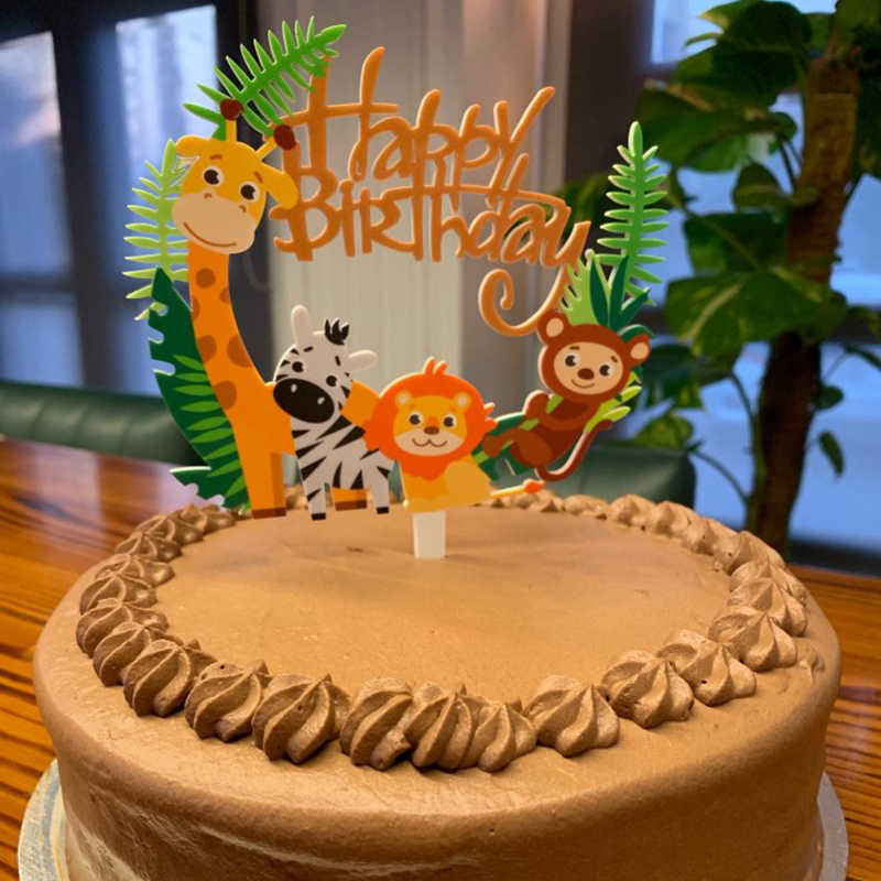 Admirable 1Pcs Happy Birthday Jungle Animal Cake Topper Birthday Party Funny Birthday Cards Online Fluifree Goldxyz