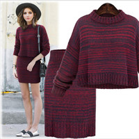 2018 Autumn And Winter New Women Sweater Dress Fashion Two Pieces Set Package Hip Skirt Female Knitting Set Sweater Dress Female