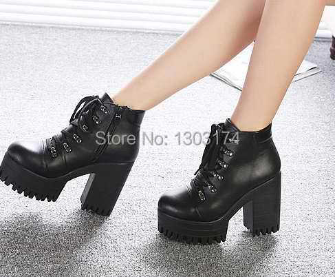 9f8eb89a0a1c Vingtage Hot 2014 New Womens Punk Goth Chunky Heels Platform Ankle Boots  Shoes black Eur size 35 39-in Ankle Boots from Shoes on Aliexpress.com