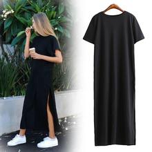 Women Summer Casual O-Neck Short Sleeve Solid Loose Black Dress Daily