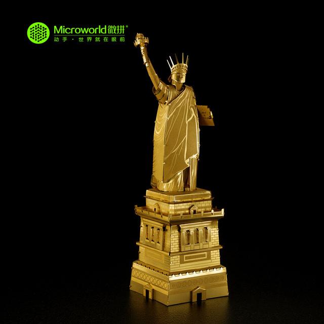 Microworld 3D Puzzle Metal América Estátua da Liberdade J001-G Arquitectónicos Modelo de Construção DIY 3D Montar Brinquedos de Corte A Laser