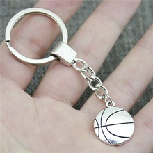 New Vintage Men Jewelry Keychain Diy Metal Holder Chain Basketball 22x18mm Antique Silver Pendant Gift