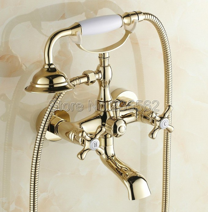 Luxury Golden Brass Bathroom Shower Bathtub Faucet Wall Mounted Dual Handle Cold & Hot Water Mixer Tap + Hand Shower ltf130 china sanitary ware chrome wall mount thermostatic water tap water saver thermostatic shower faucet