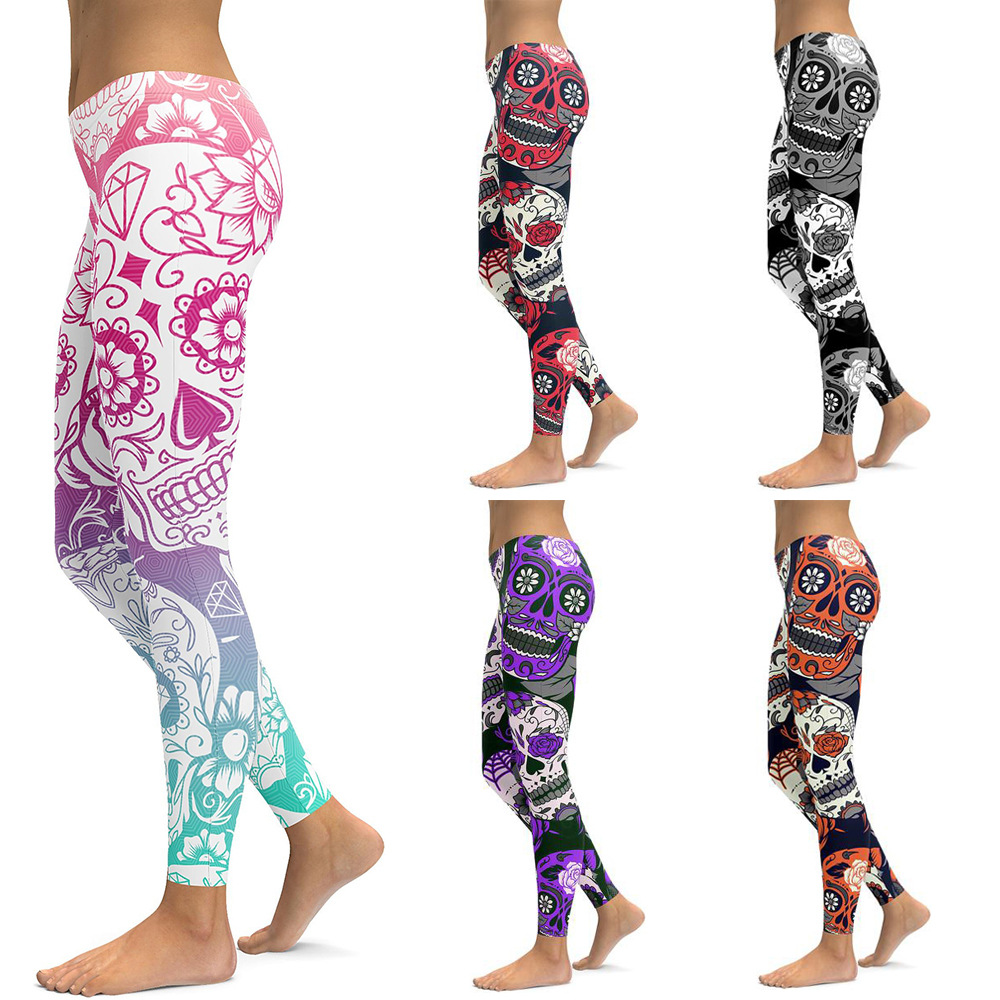 5 cores Leggings de Impressão Crânio Mulheres De Cintura Alta Elastic Causais Leggings Sexy Slim Leggings de Fitness Plus Size Leggins Mujer