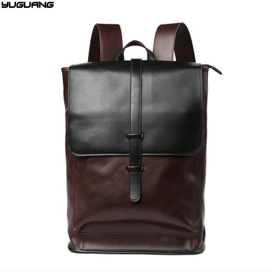 high quality carzy horse leather man backpacks men travel bag casual men shoulder Laptop bag brown