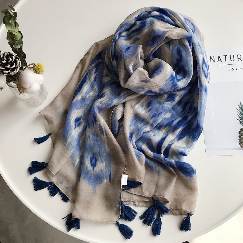 Women autumn luxury brand designer long blue scarf wraps shawl High Quality Hijabs and Wraps Pashmina Stole Muslim Sjaal