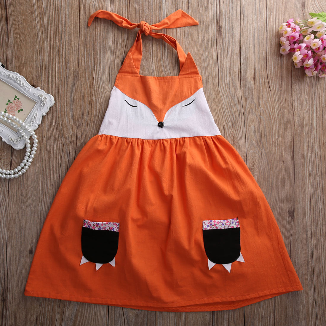 Cute  New Fox Girl Princess Dress Kid Baby Party Wedding Pageant Tulle Tutu Dresses girl navy blue princess dress kimono dress cute princess tutu dress