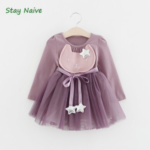 Vestidos da menina 2017 primavera estilo casual roupas de bebê coelho dos desenhos animados estrelas areia net vestido longo-manga roupas das crianças