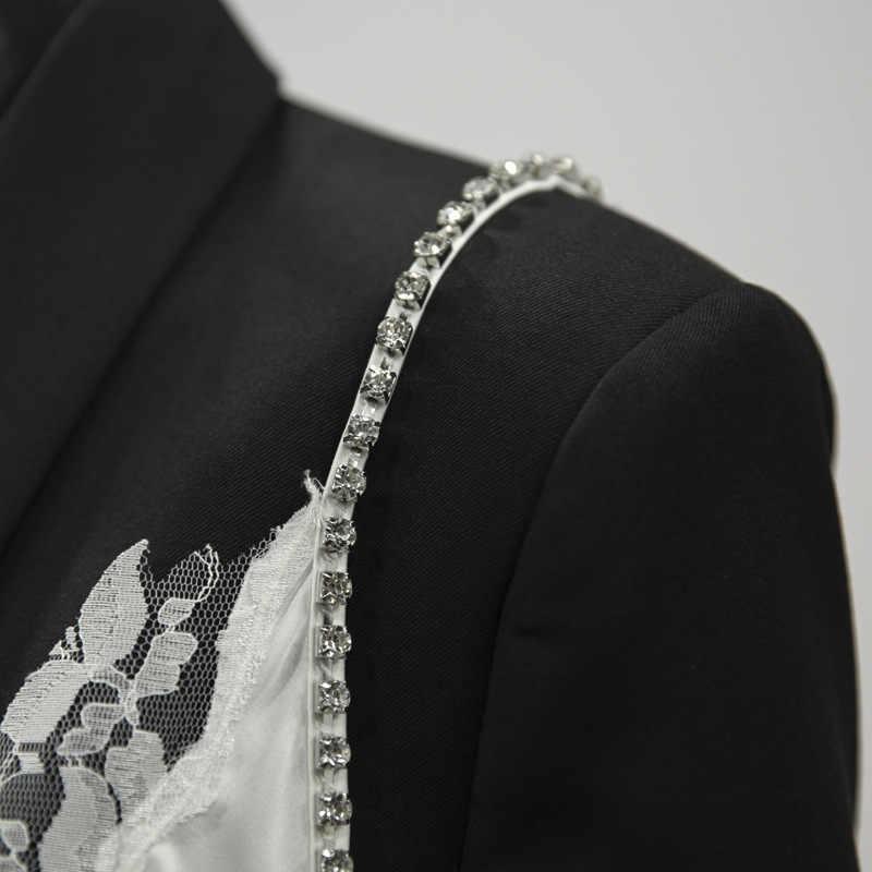 [EAM] 2019 Новое весенне-осеннее черное кружевное комбинированное пальто с лацканами и длинными рукавами, нестандартная Свободная куртка для женщин, модное пальто, JT219