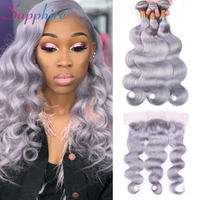 Sapphire Lace Frontal With Bundles Brazilian Body Wave 3 Bundles Grey Color with 13*4 Free Part Lace Frontal Human Hair Weave