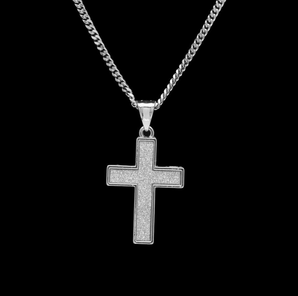 Uwin คลาสสิก Simple Sand Blast ศาสนา Jesus Cross สร้อยคอจี้ทอง/เงินสำหรับสตรีและผู้ชายแฟชั่น Hiphop Cuban โซ่