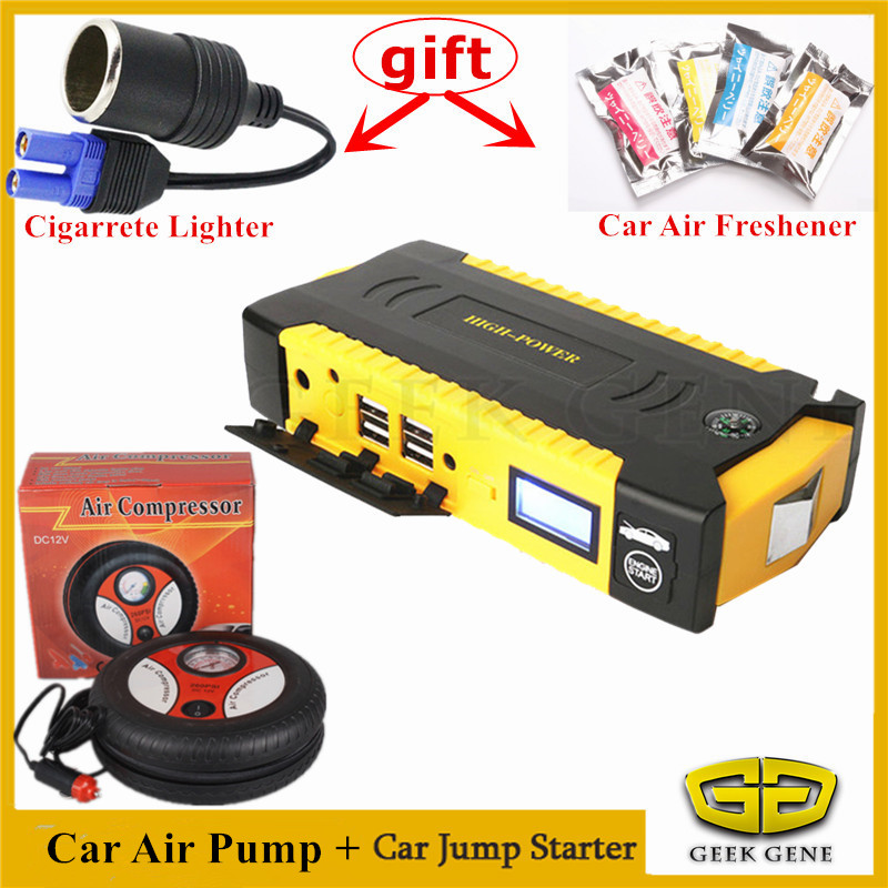 High Power Petrol Diesel Car Jump Starter Portable 600A Pack Starting Device Power Car Battery Booster Buster With Car Air Pump