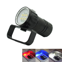 18650 Led Flashlight Photography Dive Lamp Diving Flash Light Underwater Scuba Video Light L2 + Red + Blue LED For Camping