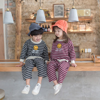 2018 Baby Girls Boys Clothes Suits Casual Girl Clothing Children Suit Striped Sweatshirts+Sports Pants Spring Autumn Kids Set