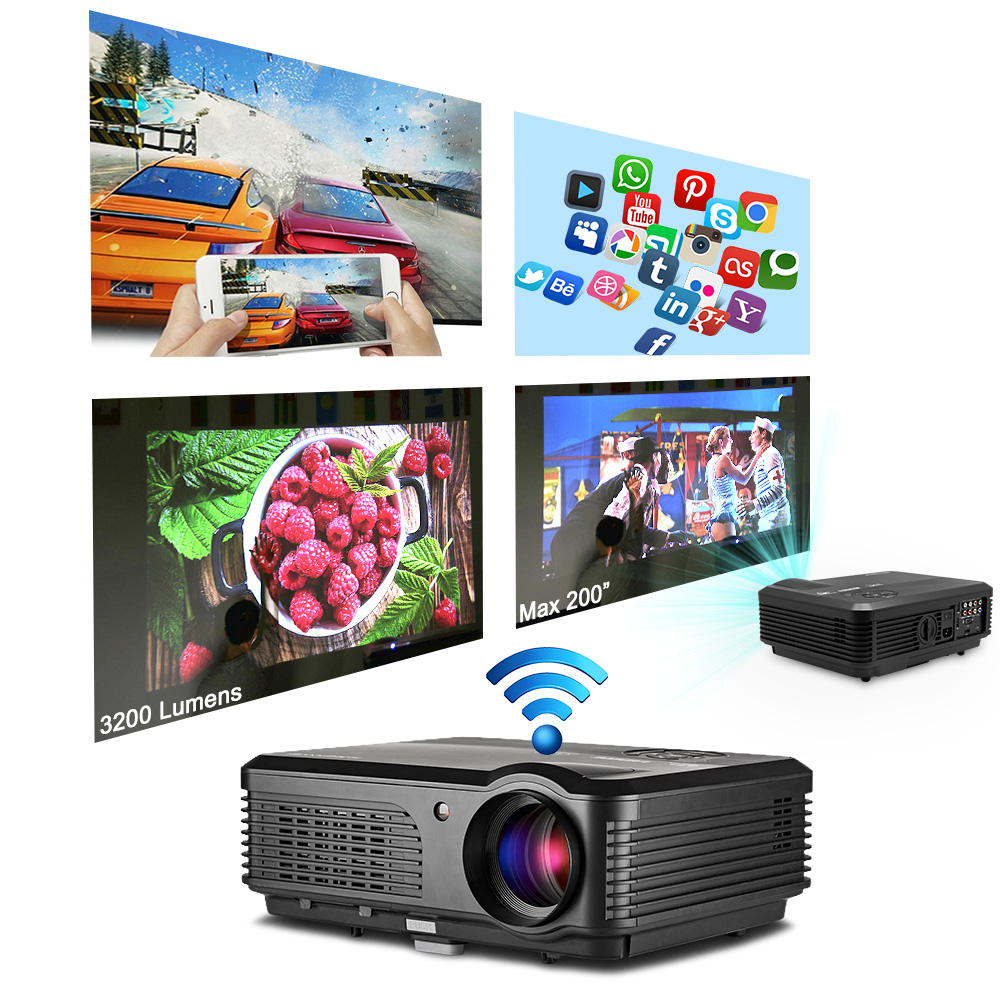 CAIWEI Android WIFI LED LCD Projector Support 1080P Home Theater Party Backyard Movie HDMI VGA USB TV AirPlay XBOX Google Play cheerlux cl740 wt mstar lcd home theater projector w led analog tv vga ypbpr hdmi white