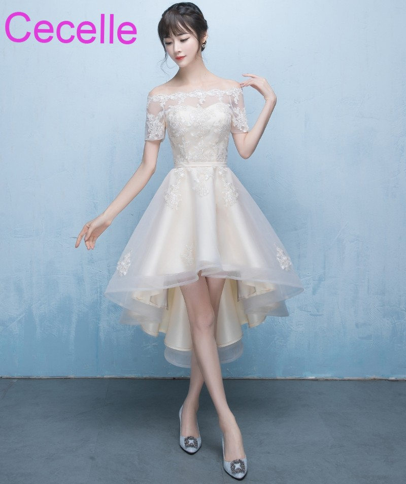 2019 New Beige High Low Short Cocktail Dresses Off The Shoulder Short Sleeves Lace Tulle Hi-Lo Girls Informal Short Prom Dress