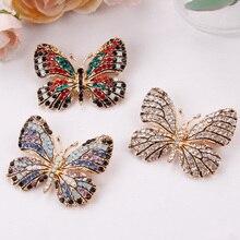 Разноцветная брошь в виде бабочки, разноцветные Броши с кристаллами для женщин, женский Букет невесты на свадьбу, вечеринку, украшение «сделай сам», бутоньерка