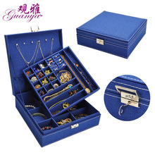 GUANYA Large Best Selling Fashion Flannel Square Jewelry Box Simple layout 2 Layers Makeup Organizer Ring necklace Storage Box