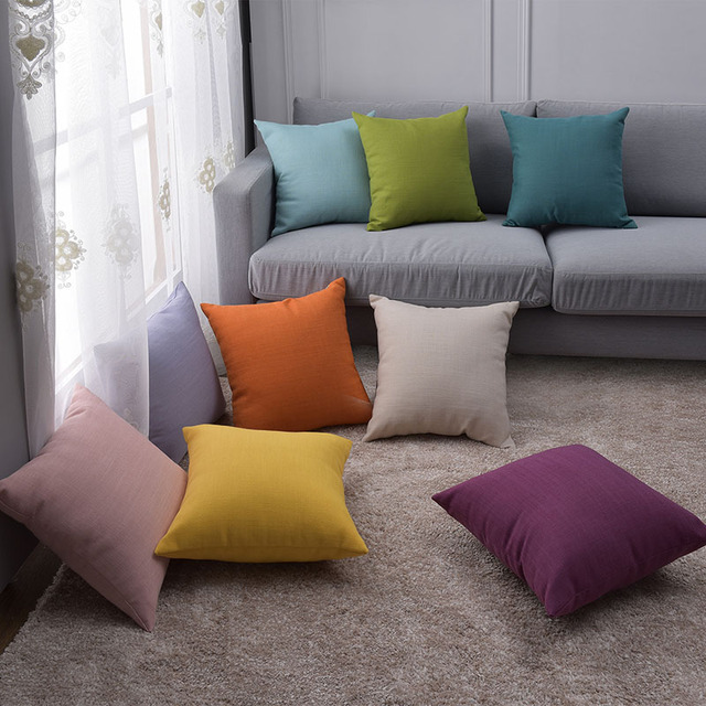 Cotton Linen Sofa Throw Pillow Covers Couch Plain Solid Decorative