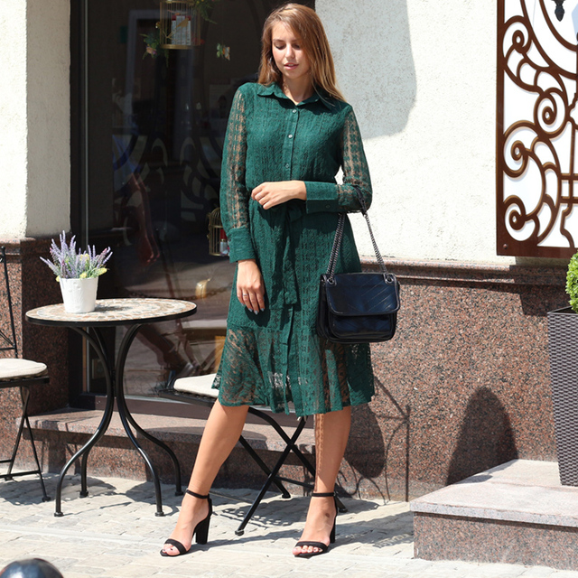 great lace bottom long v neck long sleeved dress, light print office to day 3
