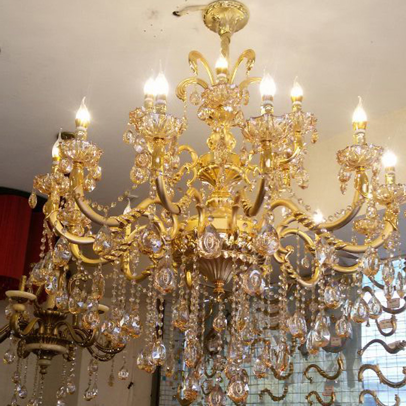 Classic Large Crystal Chandelier Light Fixture Gold