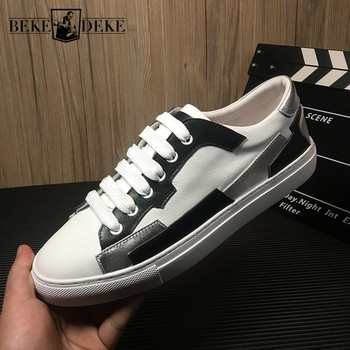 Designer Mens White Sneakers Luxury Genuine Leather Casual Flat Shoes High Quality Patchwork Classic Flats 2019 Summer Footwear