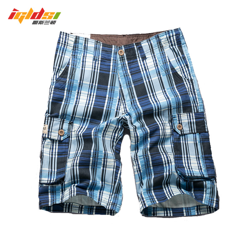 Men's Plaid Beach Shorts New 2018 Fashion Casual Camo Camouflage Shorts Military Short Pants Male Cargo Overalls Shorts Size 40