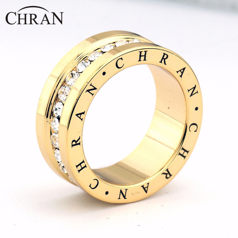 CHRAN Fashion Band Jewelry Crystal Promised Rings for Women Silver Plated CZ Engagement Wedding Band Rings