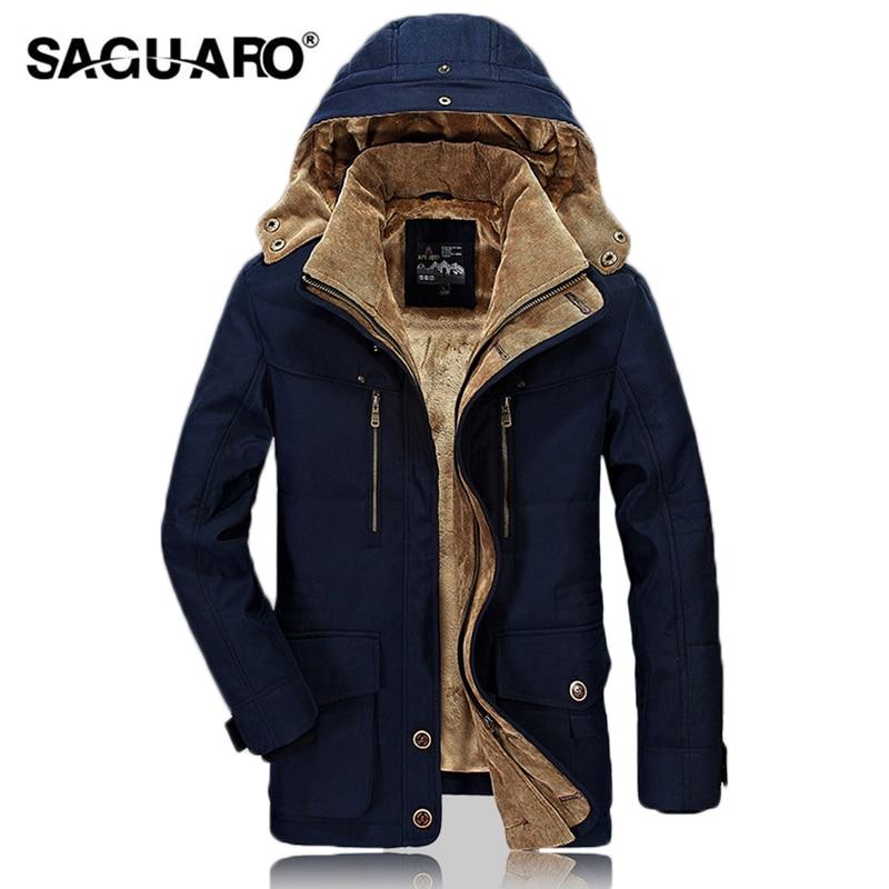 SAGUARO 2018 Winter Military Jackets Men Fur Hooded Thicken Coat Warm Cotton-Padded Man Jacket Casual Windbreaker erkek mont