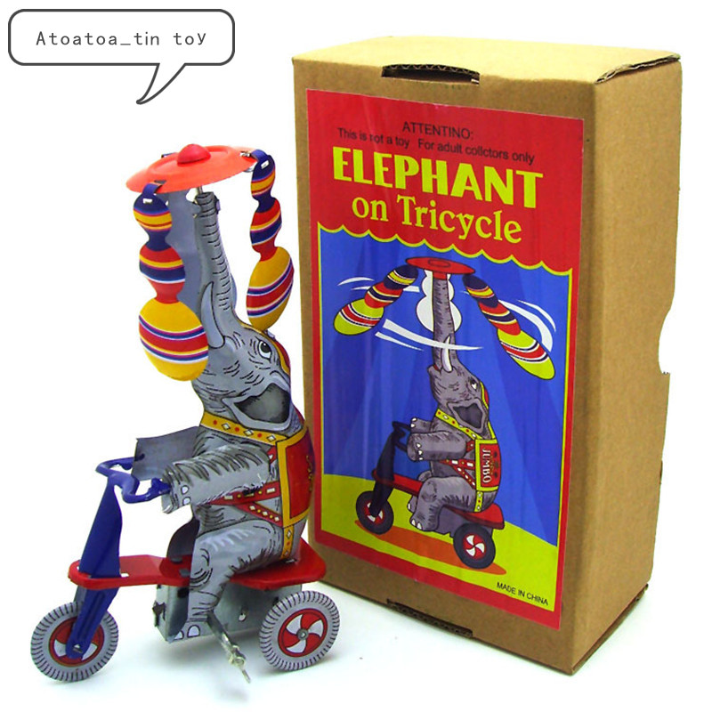 Vintage Retro Elephant On Tricycle Tin Toy Classic Clockwork Wind Up Elephant Collection Tin Toy For Adult Kids Collectible Gift