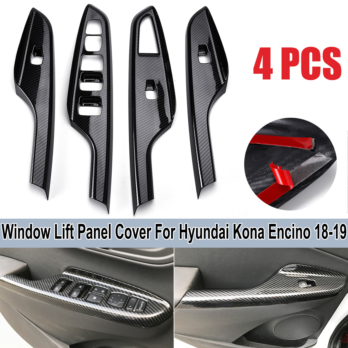 For Hyundai Kona Kauai Encino 2018 2019 Car Steering Wheel: ABS Carbon Fiber Color Door Window Switch Lift Panel Cover