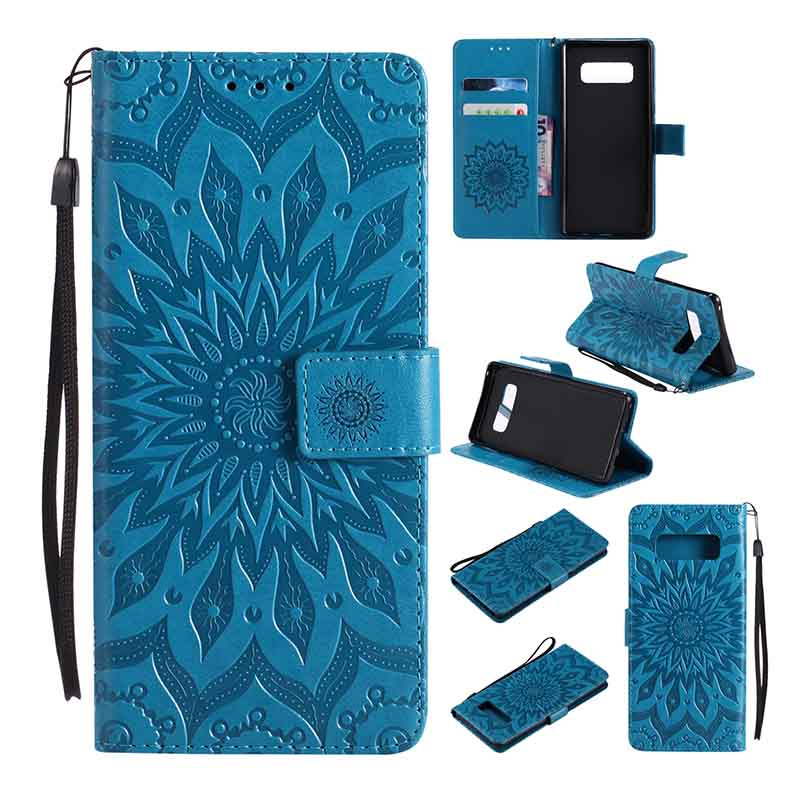 Flip Case For Samsung Galaxy S3 S4 S5 Mini S6 S7 Edge S8 Plus Sunflower PU Leather Wallet Cover For Samsung Galaxy Note 8 5 4 3