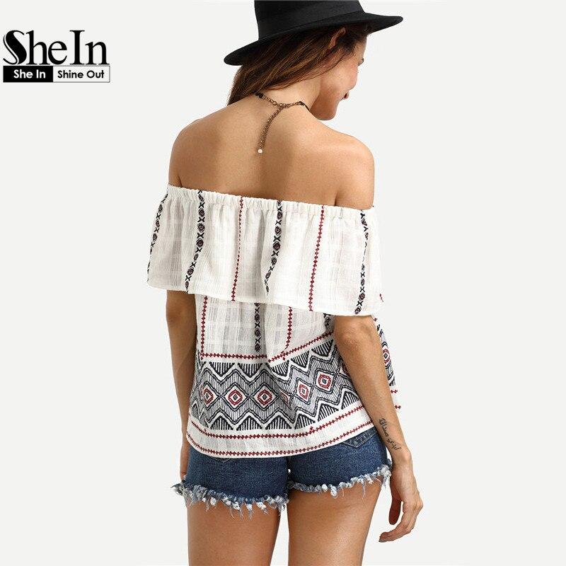 Shein женская верхняя одежда мода с плеча блузка летняя