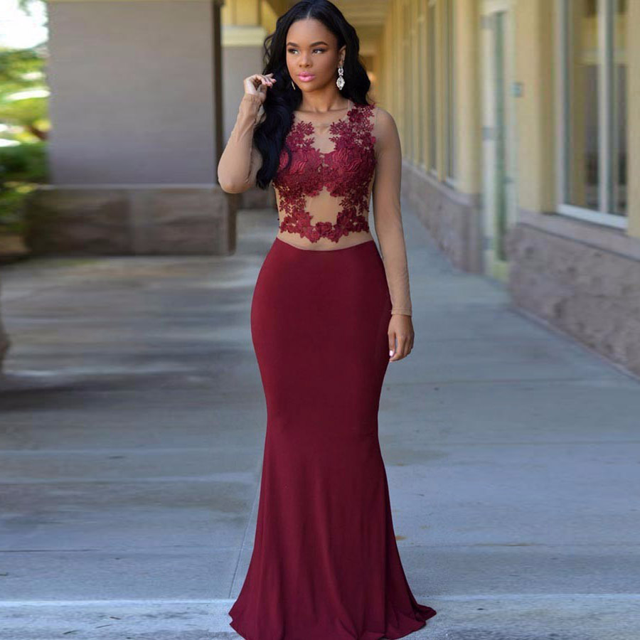 Maroon Long Sleeve Prom Dresses