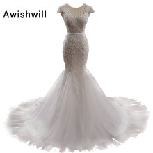 Real Photo Gorgeous Beaded Mermaid Wedding Dresses 2018 Vestido De Noiva Sereia Lace-up Back With Sleeves Bridal Dress Gown