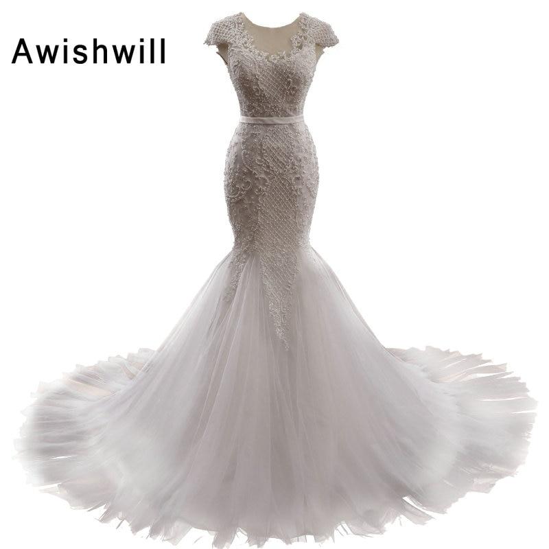Īsta fotogrāfija Krāšņs pērļainais sirēna kāzu kleitas 2019 Vestido De Noiva Sereia mežģīnes augšup ar piedurknēm Kāzu kleita kleita