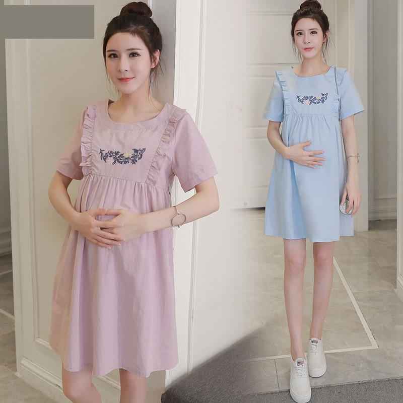 2018 Pregnancy Dress Maternidade Pregnant Maternity Clothes Summer New Fashion Embroidered Dress Long Embroidery Cute Boat Neck
