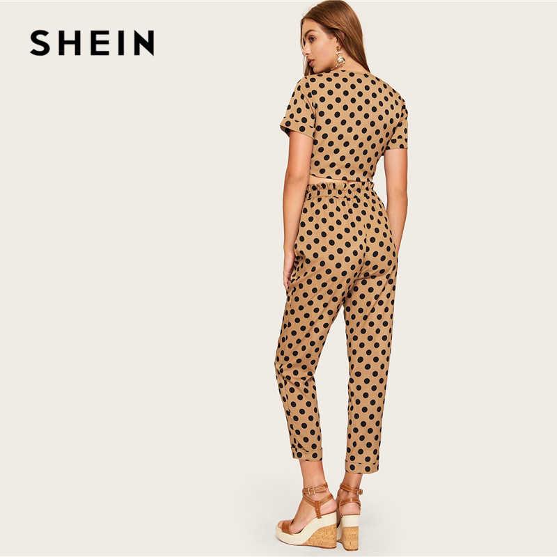 d337c1466d1b ... SHEIN Brown Knot Front Polka Dot Crop Sexy Top and Ruffle Waist Carrot  Pants Set Women ...