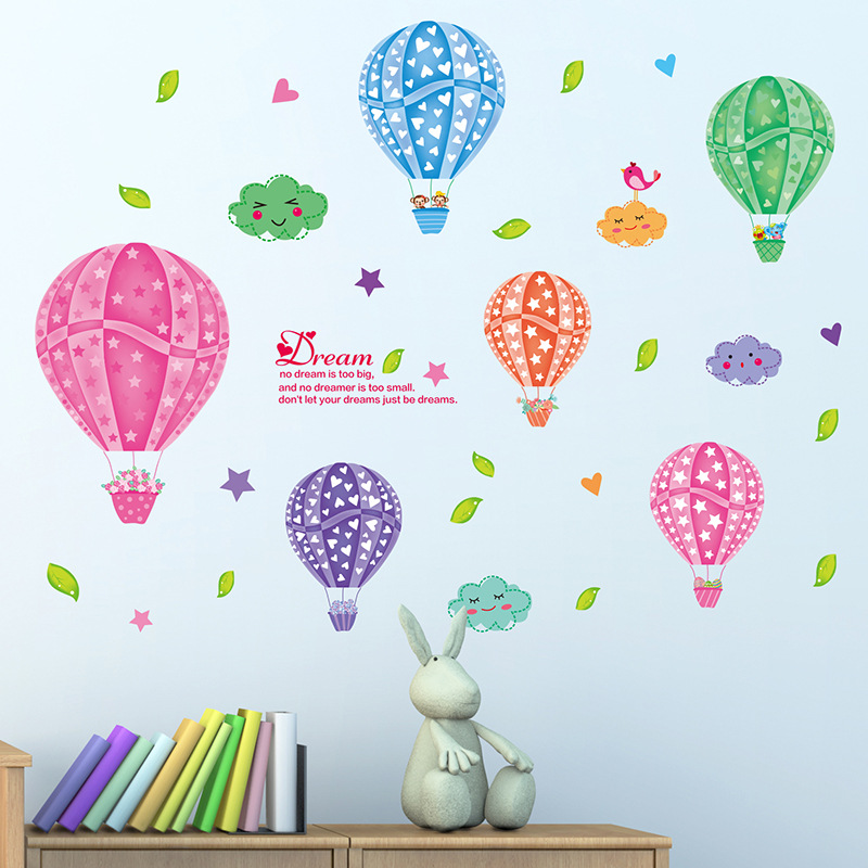 New Cartoon Hot Colorful Air Balloon Wall Stickers For Kids Room