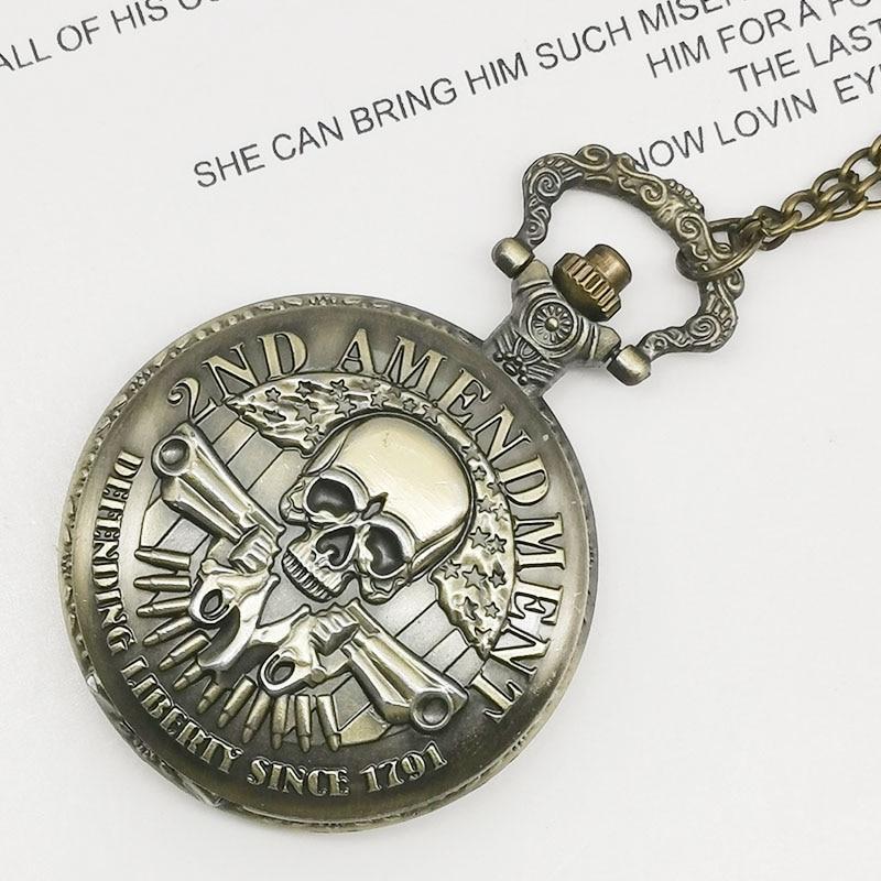 Vintage DEFENDING LIBERTY SINCE 1791 2nd AMENDMENT MILITARY Gun Skull Quartz Pocket Watch Necklace Mens Women Fob Watch Gifts