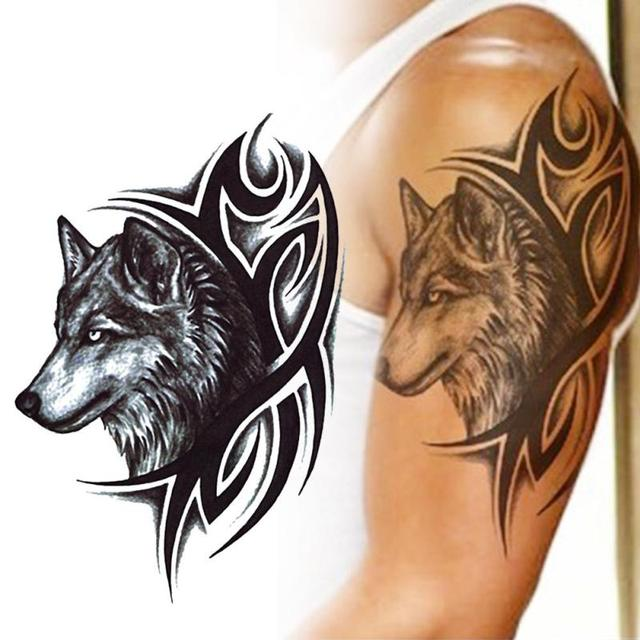 2pcs lot water transfer temporary tattoo wolf decal men. Black Bedroom Furniture Sets. Home Design Ideas