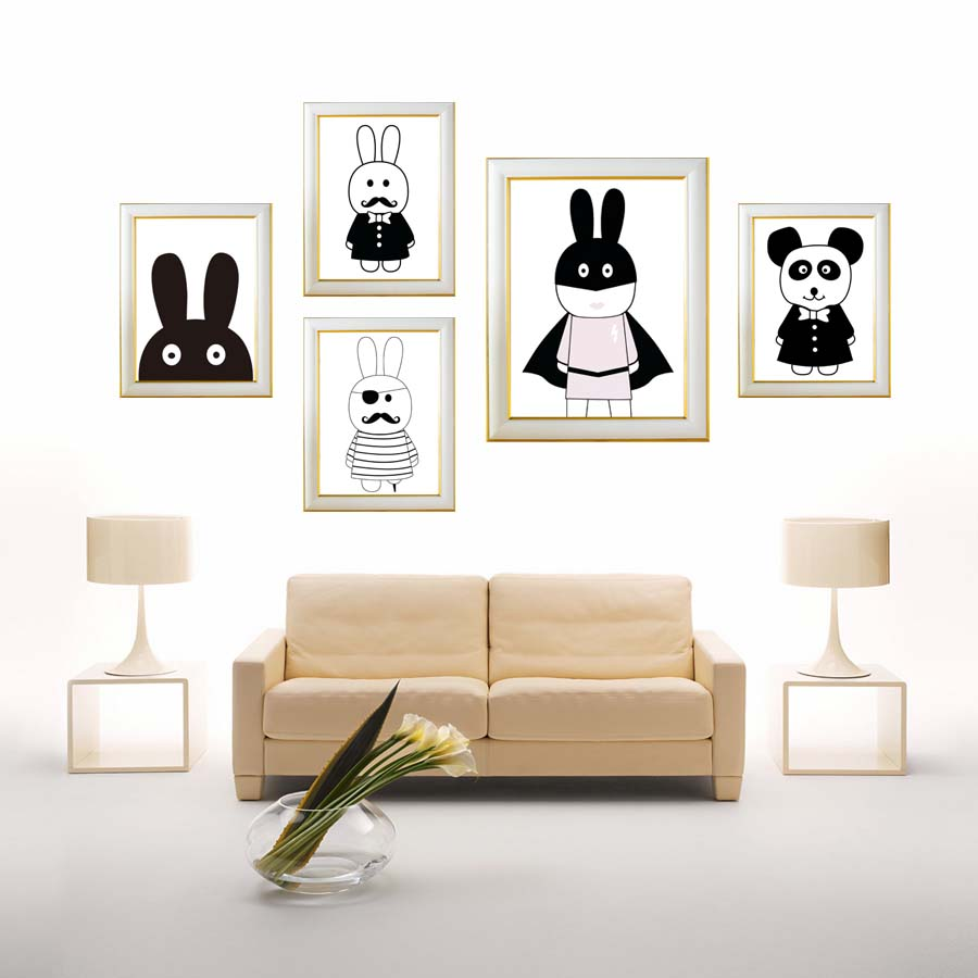 Modern Nordic Black White Cute Rabbit A4 Canvas Painting Art Printable Poster Wall Picture For Kids Room Home Decor No Frame