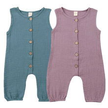 Newborn Baby Boy Girl Summer Cotton Linen Jumpsuit Ruffle Romper Button up One Piece Outfits ruffle strap button front palazzo jumpsuit