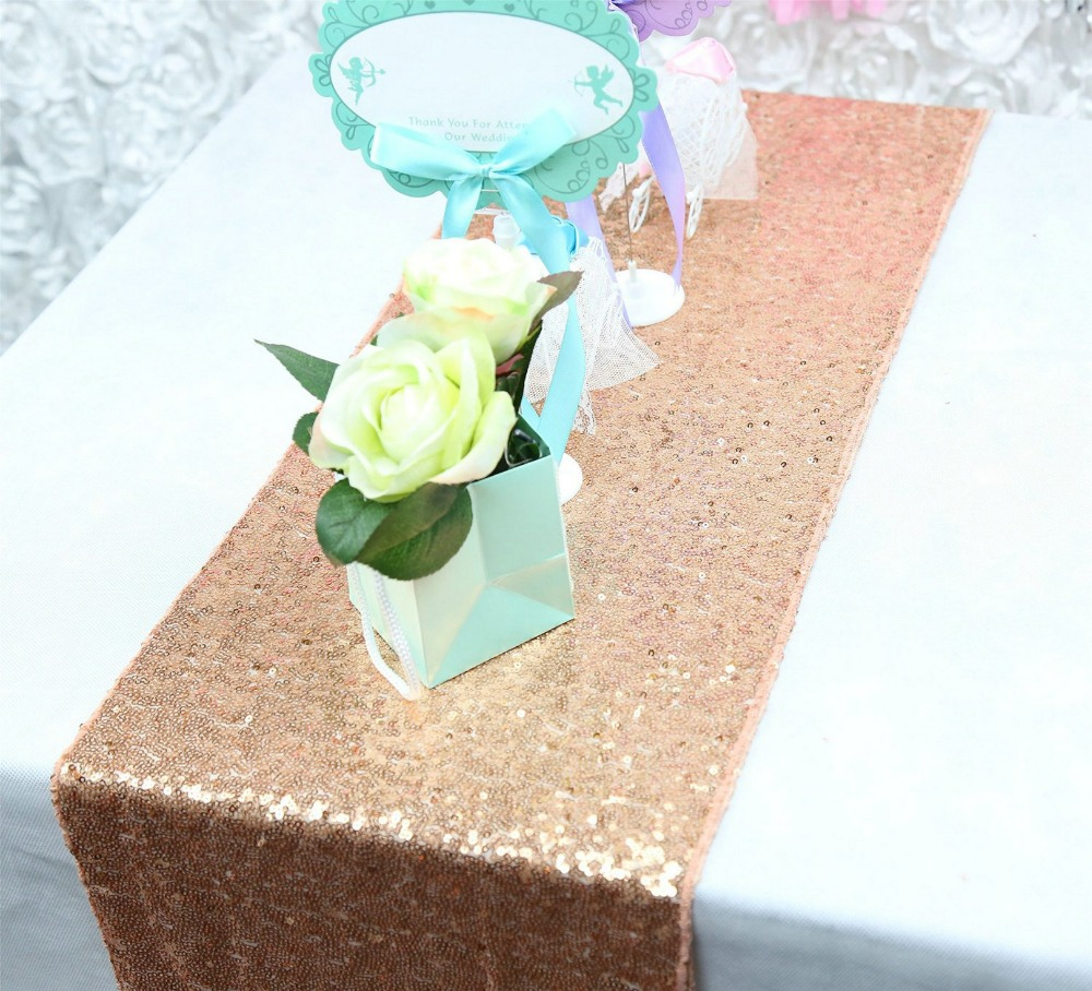 Ebroidered Rose Gold Sequin Table Linen, 12x108inch Glitter Sequin Table Runner for Birthday PartyChristmas Event Banquet